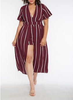 fefc7ba7516a Plus Size Striped Romper with Maxi Skirt Overlay - 3930069393047 ...