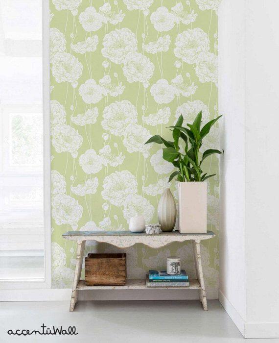 Peony Lime Green Peel Stick Fabric Wallpaper Repositionable Etsy Wallpaper Panels Peony Wallpaper Peel And Stick Wallpaper