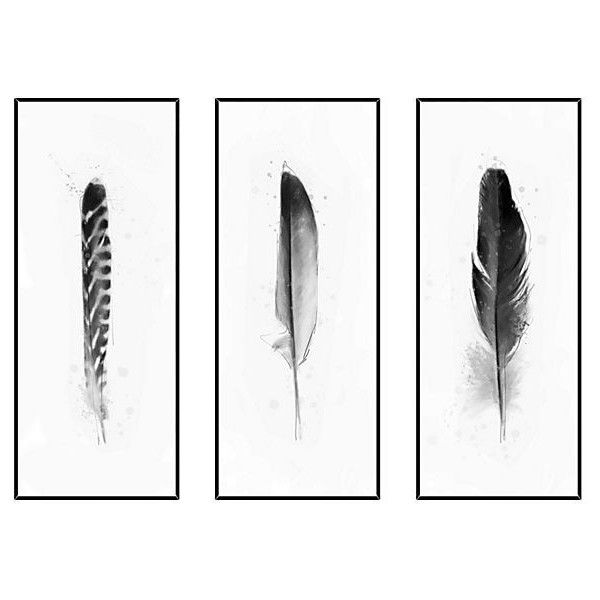 Black and White Feathers Triptych Paintings (£240) ❤ liked on Polyvore featuring home, home decor, wall art, art, decor, backgrounds, fillers, black white painting, 3 piece painting and black and white framed wall art