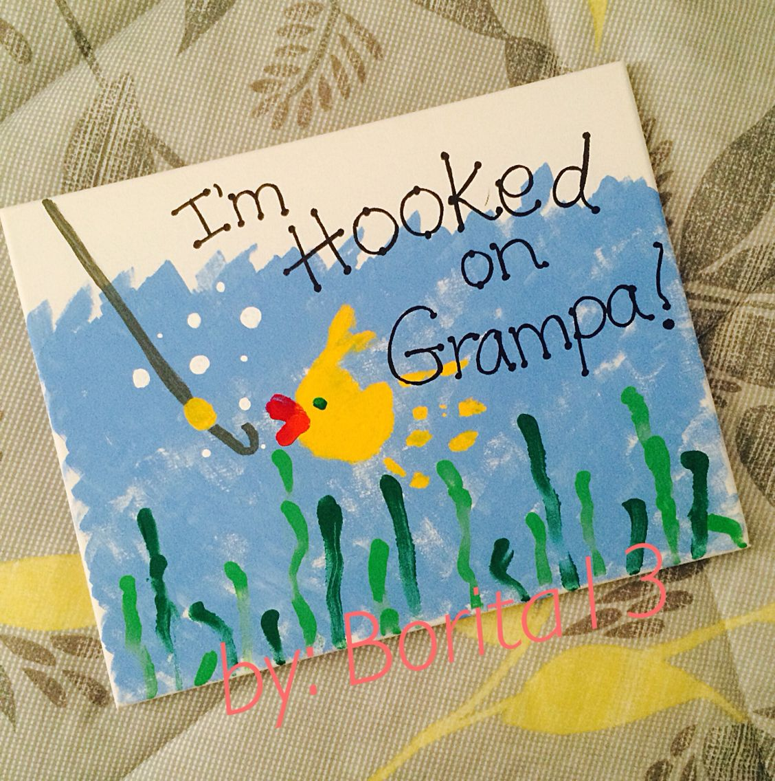 Fathers Day Gift For Grandpa Using Toddler Prints Birthday Diy