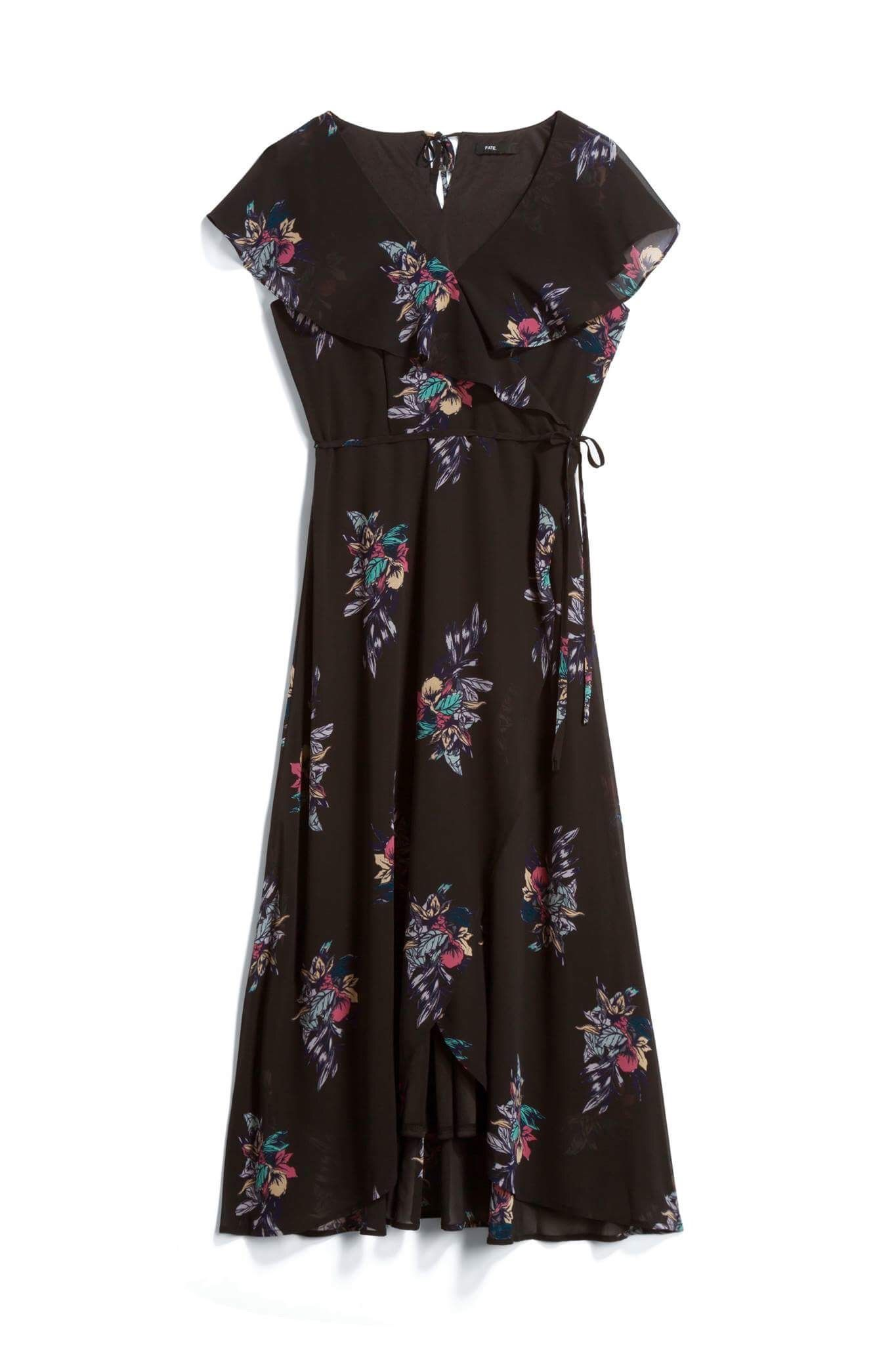 Black floral midi dress with ruffle stitch fix style quiz stitch