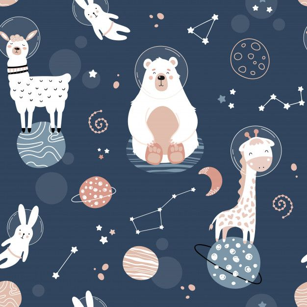 Cute Seamless Pattern With Space Animals