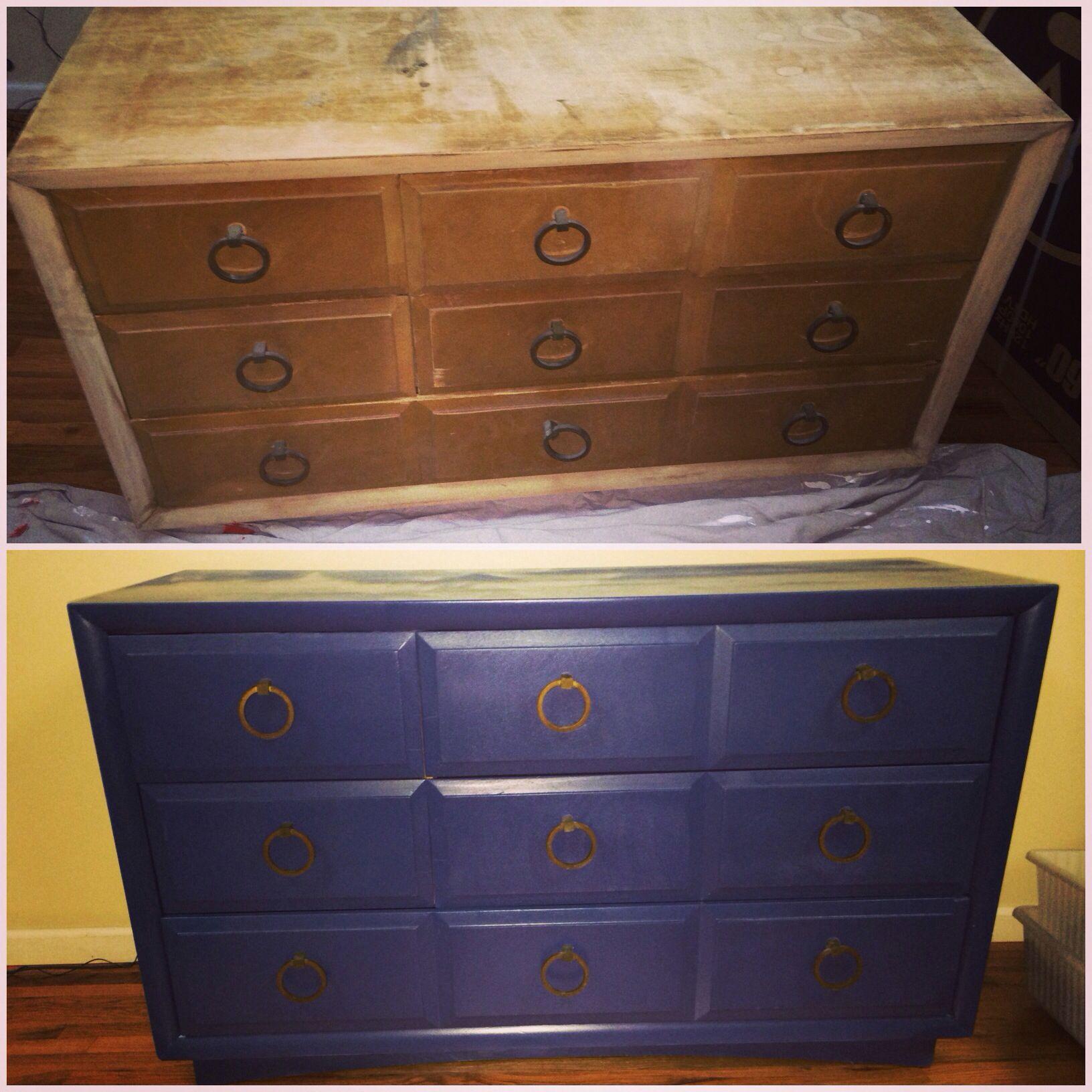 Old Dresser Made New Used a Coarse Sanding Sponge Rustoleum 2x