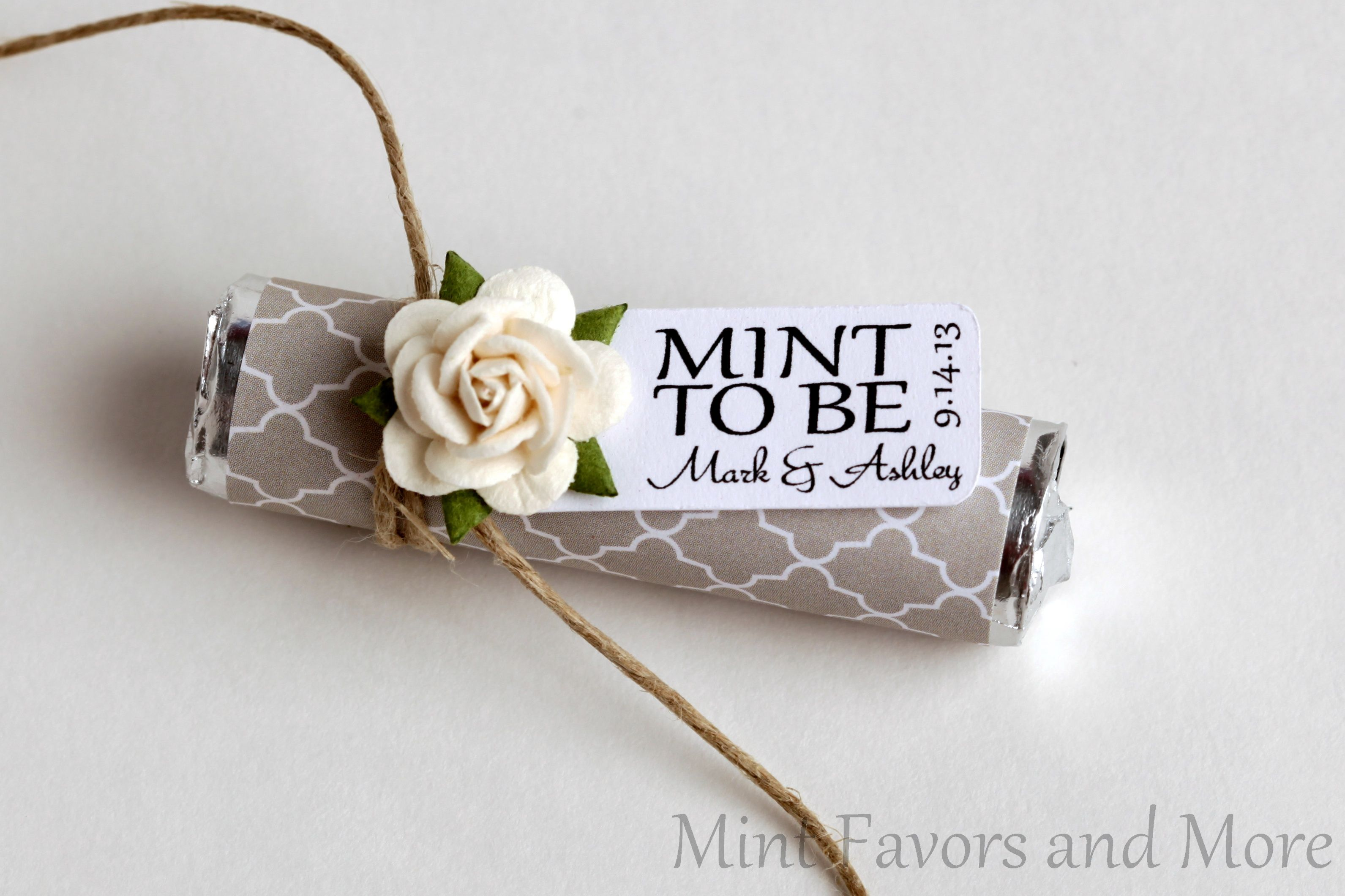 Personalized mint favors to match your theme! Mint rolls wrapped in ...