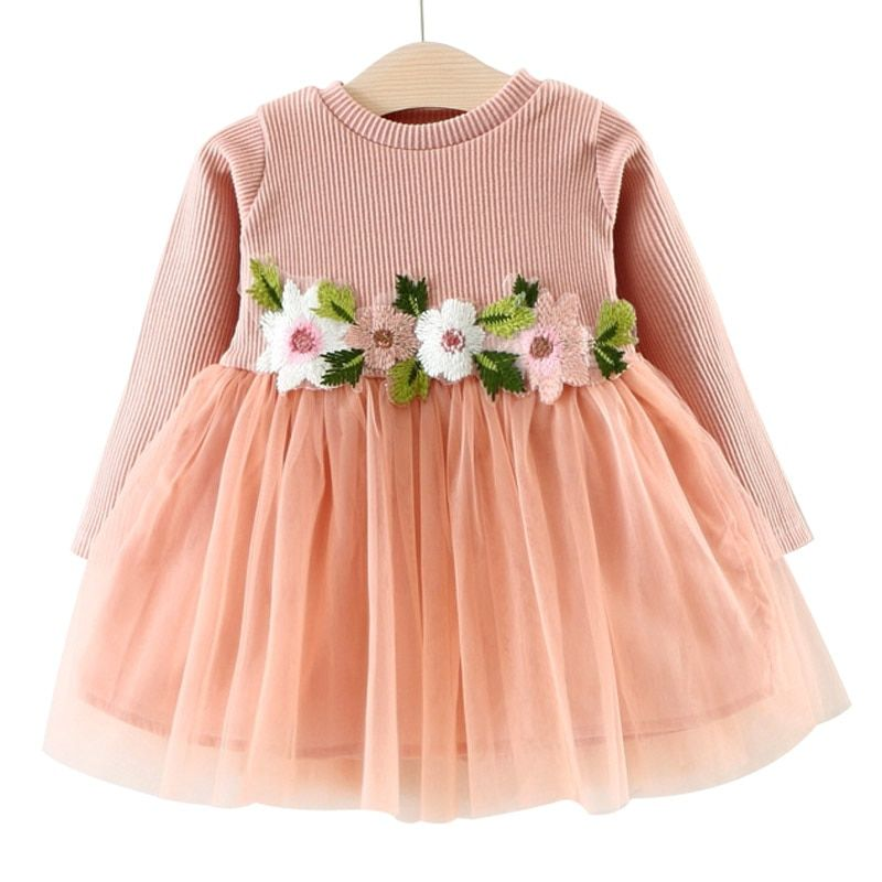 Toddler baby Girl Long Sleeve knit Princess Party Dress Kids Spring Clothes