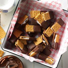 Mini S'mores Recipe -Miss s'mores in winter? Here's the solution! Combine marshmallow creme, chocolate, graham crackers and more for a summery delight.