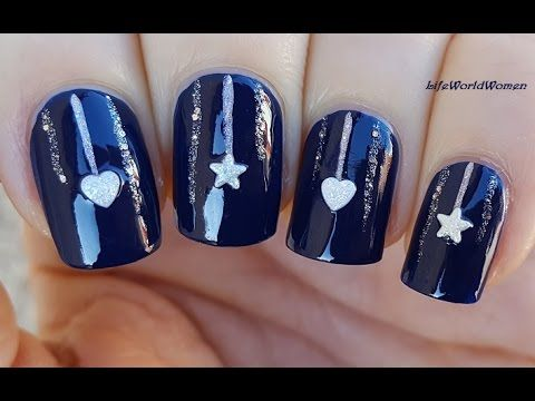 Elegant Dark Blue Christmas Nails With Sparkle Ornaments Design