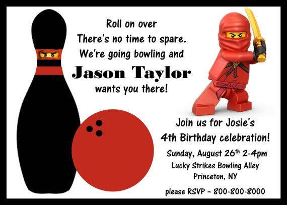 Diy Printable Ninjago Bowling Birthday Invitation  Sweet