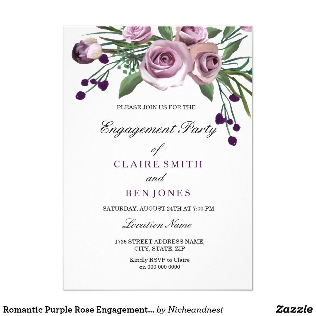 Romantic Purple Rose Engagement Party Invite | Pinterest ...