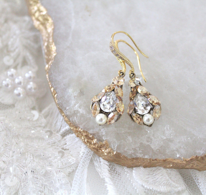 Delicate Bridal Earrings Bridal Jewelry Dainty Swarovski Etsy Delicate Bridal Earrings Swarovski Crystal Drop Earrings Crystal Bridal Earrings