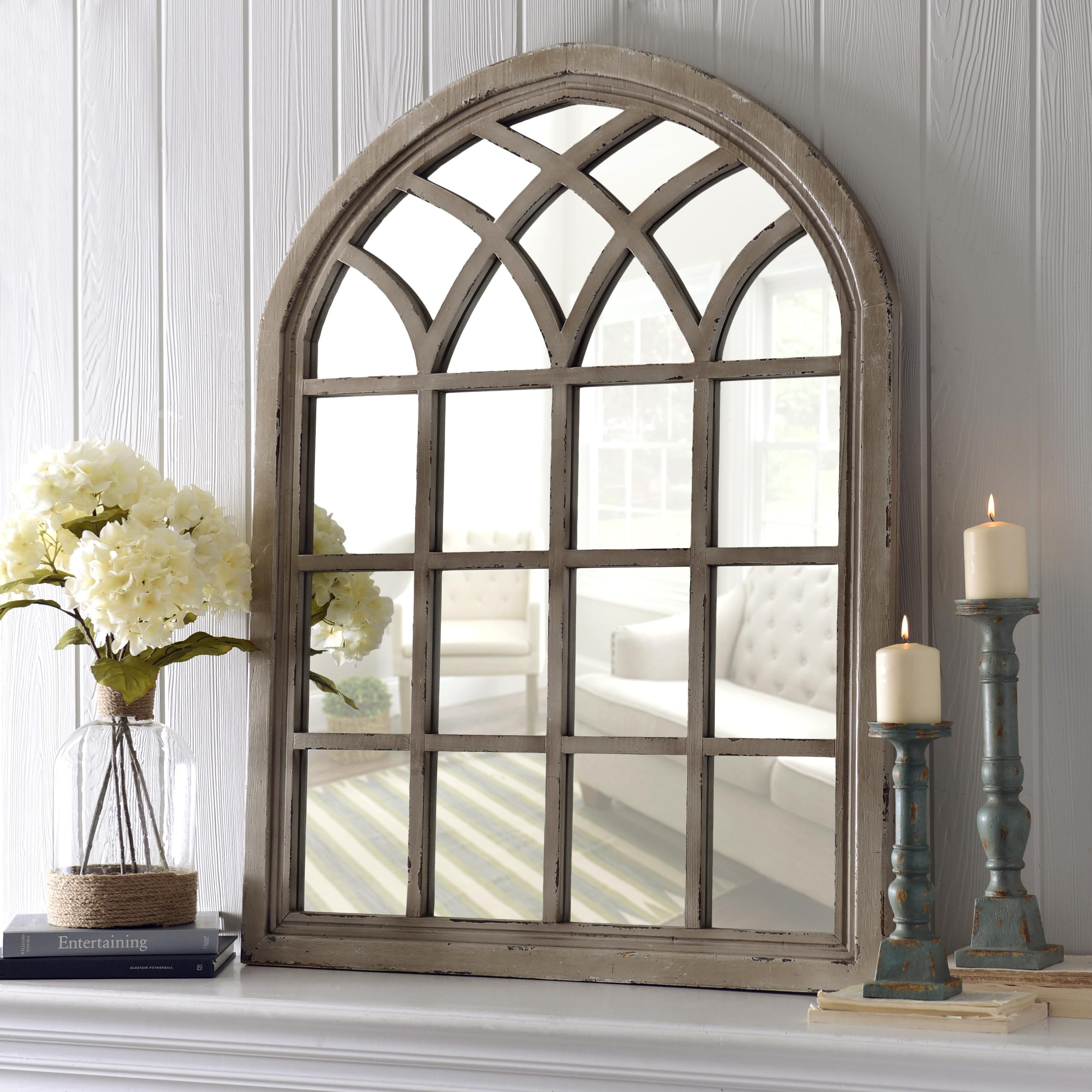 Distressed cream sadie arch mirror arch mirror rustic Window pane mirror
