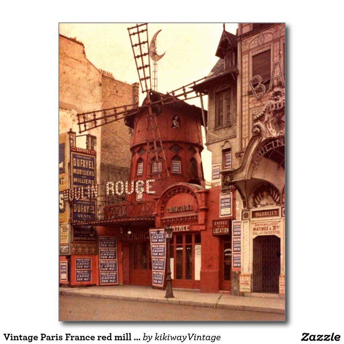 Vintage Paris France Red Mill Colorful Closeup Postcard Zazzle Com Paris Photos Vintage Paris Paris