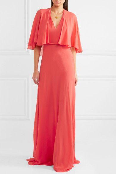 Cape-effect Satin-trimmed Silk-georgette Gown - Coral Giambattista Valli XVEOLj1V93