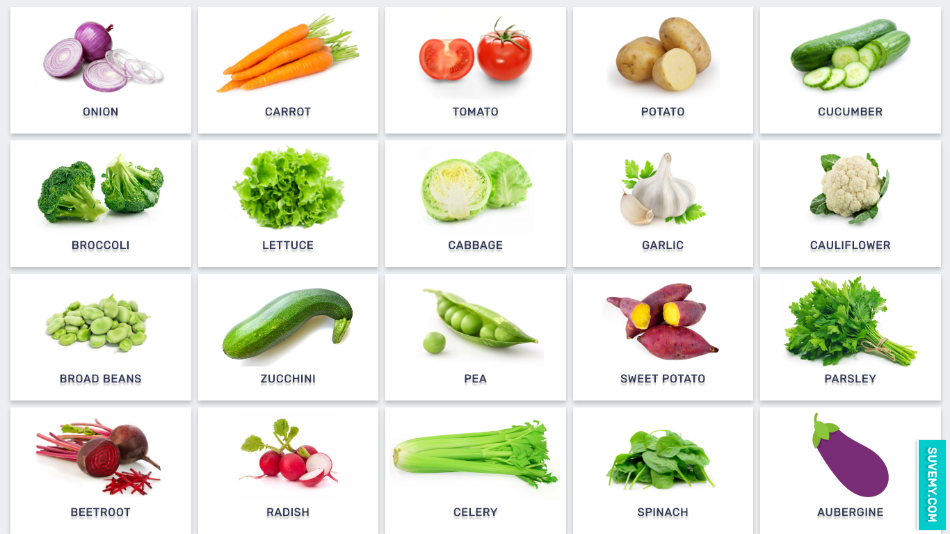 Vegetables In English On Examples Images For Kids