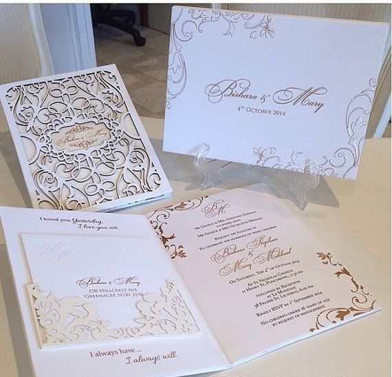 Matchy Matchy Letterpress Invite And Handmade Envelope: Laser Cut Wedding Invitation Letterpress Gold Foil Luxury