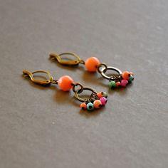 """Boucles d'oreilles fantaisies pierres fines colorées sur dormeuses bronzes : modèle """"naëlle"""""""