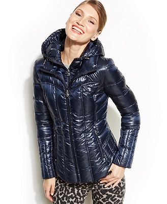 Laundry By Shelli Segal Hooded Quilted Packable Puffer Coat