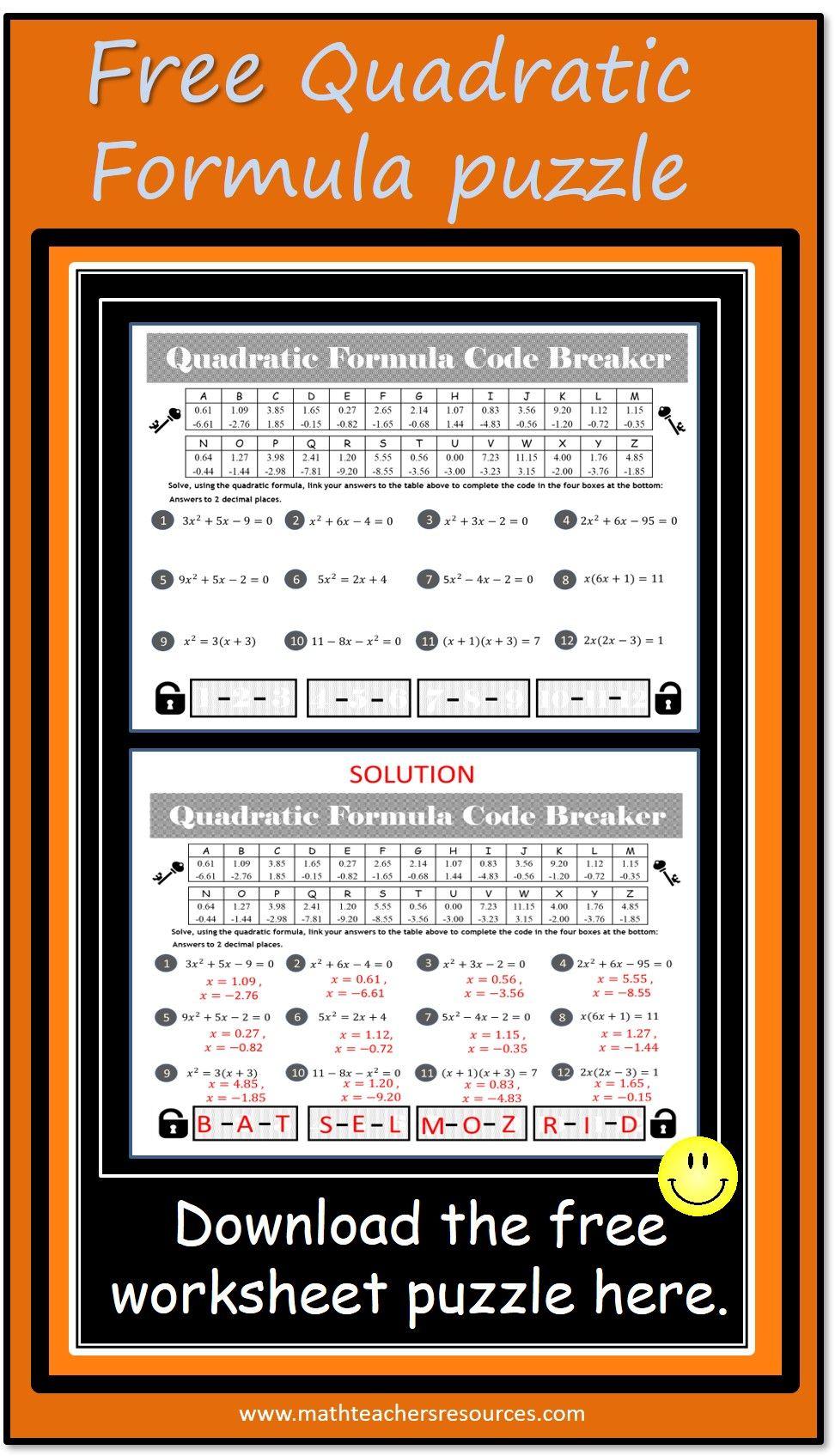 Quadratic Formula Worksheet Puzzle Free Quadratics Quadratic Formula Solving Quadratics [ 1695 x 972 Pixel ]