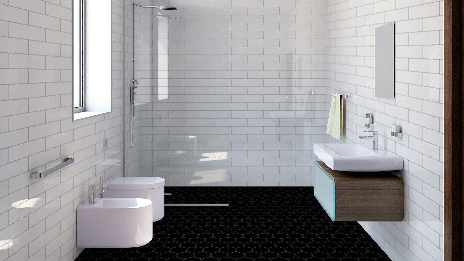 City Matt White 100x400 With Pure Black Matt Hexagon Www Tilemax Co Nz Bathroom Top Bathroom Layout Tile Bathroom