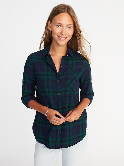 e6b9b4a639f56 OLD NAVY Classic Flannel Shirt for Women in Black Watch sz. L Plaid Flannel