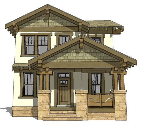 Craftsman Style House Plan 70815 With 3 Bed 3 Bath 2 Car Garage Craftsman House Plans Craftsman Bungalows Narrow Lot House Plans