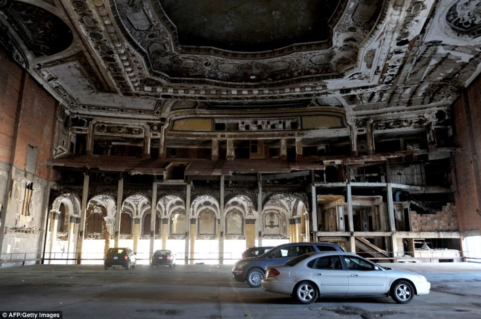 Abandoned movie theater in the middle of detroit is now a