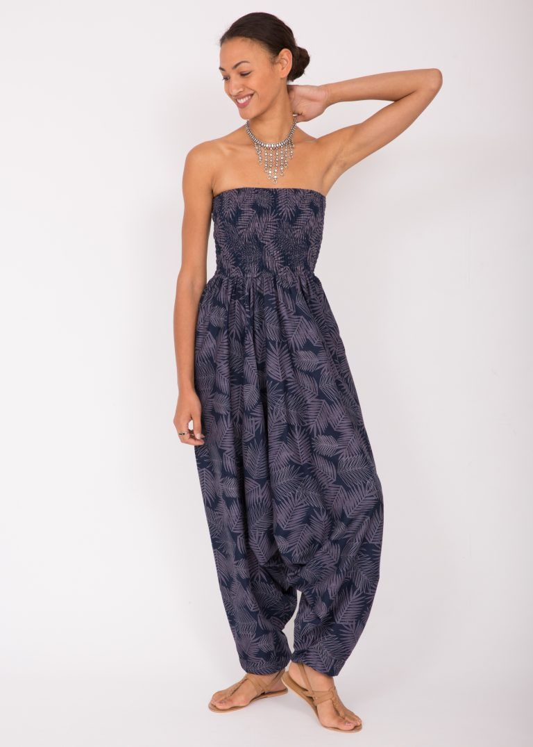 17dc4415cb97 Cotton Printed 2 in 1 Maxi Harem Trouser & Jumpsuit Blue Leaves ...