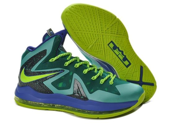 Nike Air Max LeBron James X Elite Series Green/Purple Basketball shoes