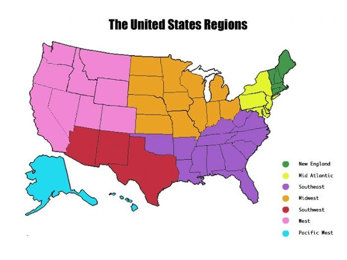 what are the regions of the united states | Map of the United States ...