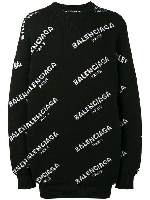 8c54fc4689 Balenciaga oversized all-over logo sweatshirt | Outfits | Oversized ...