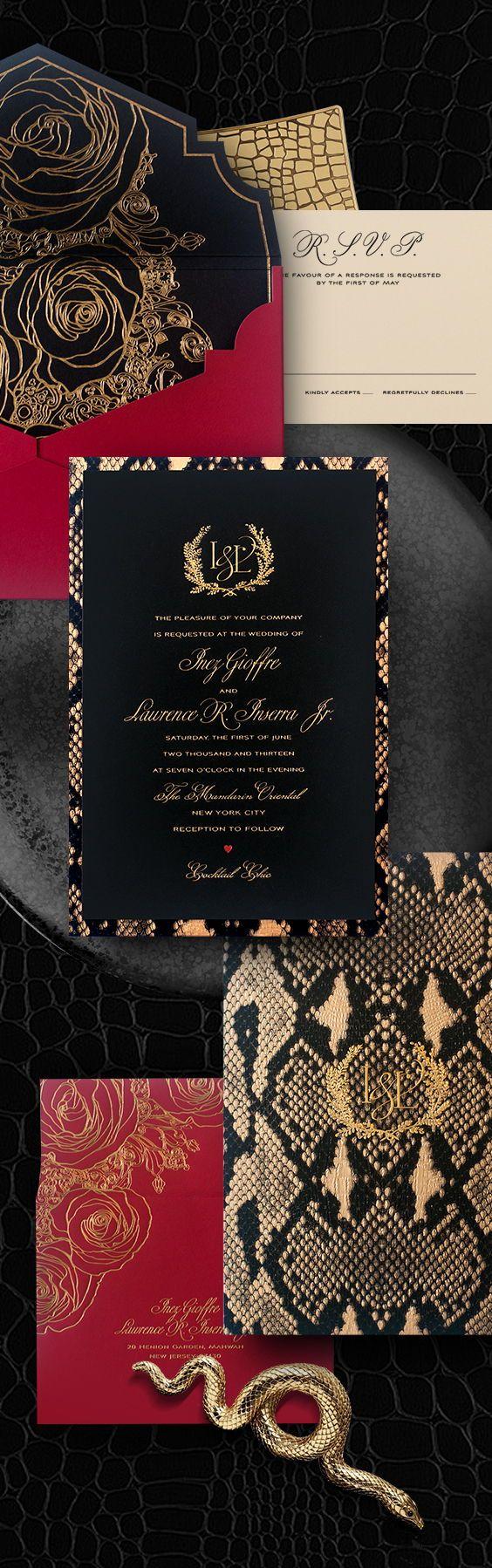 Fashion runway inspired modern wedding invitation with python ...