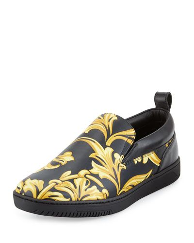 Shop barocco men's leather skate shoes black gold from Versace in our  fashion directory.