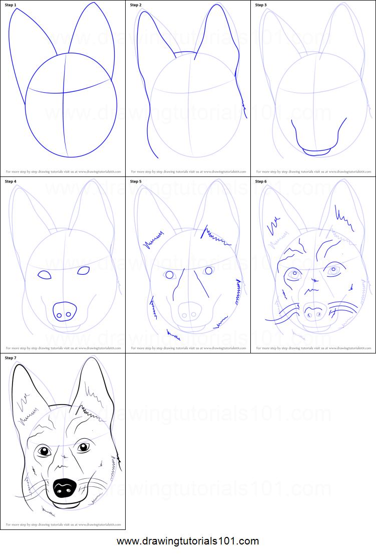 Dog Face Drawing : drawing, German, Shepherd, Printable, Drawing, Sheet, DrawingTutorials101.com, Drawing,, Animal, Drawings,