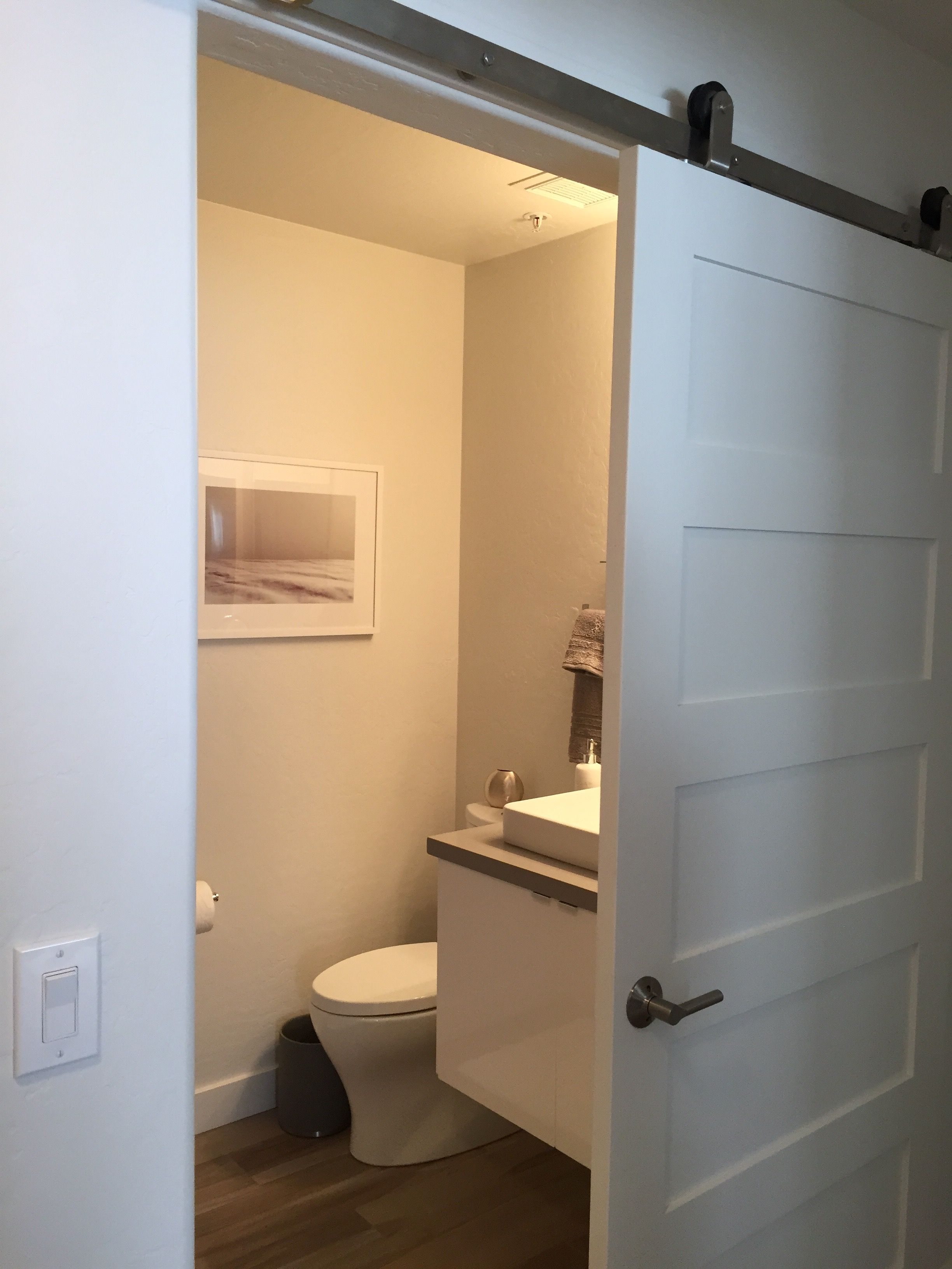 Guest bath, with barn door and deep soaking tub from American ...
