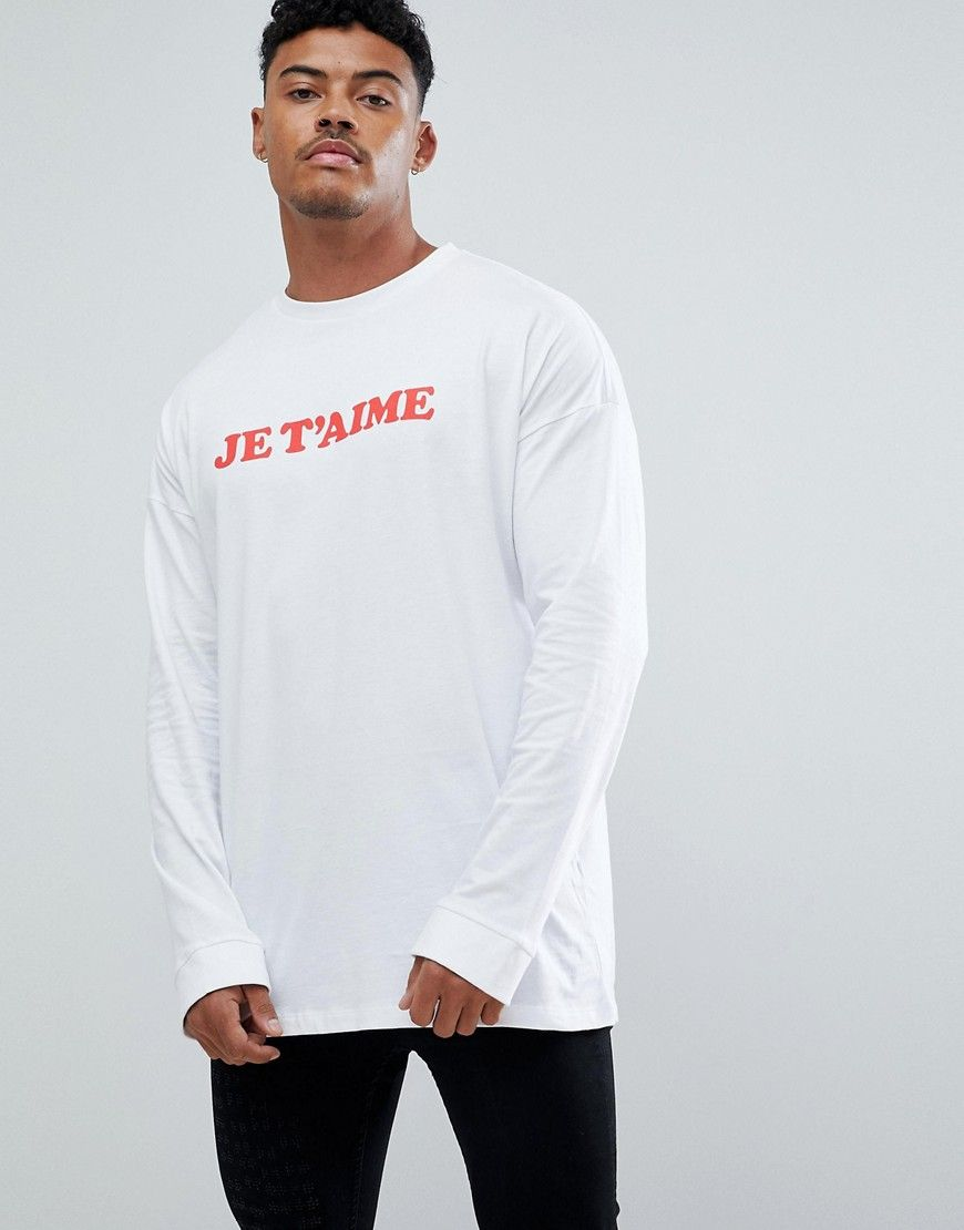 d52f07b1 ASOS Oversized Long Sleeve T-Shirt With Je T'aime Print - White ...