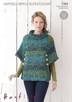 Hayfield Ripple Super Chunky 7364 Poncho Knitting Pattern Poncho