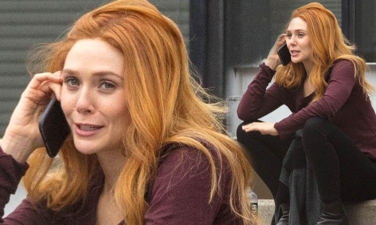 Elizabeth Olsen Lets Red Hair Down On Set Of Wandavision In Atlanta Daily Mail Elizabeth Olsen Style Elizabeth Olsen Red Hair