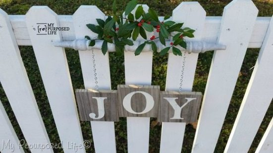 Wooden Spindle Christmas Sign Joy Christmas Decorations Rustic Rustic Christmas Reclaimed Wood Projects