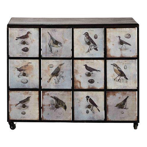 Cabinet à roulettes en métal et bois noir L 106 cm