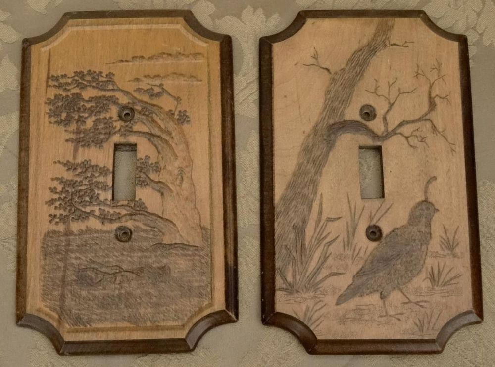 Vintage Pyrography Wood Wall Switch Cover Plate Black Forest Electrical Bird