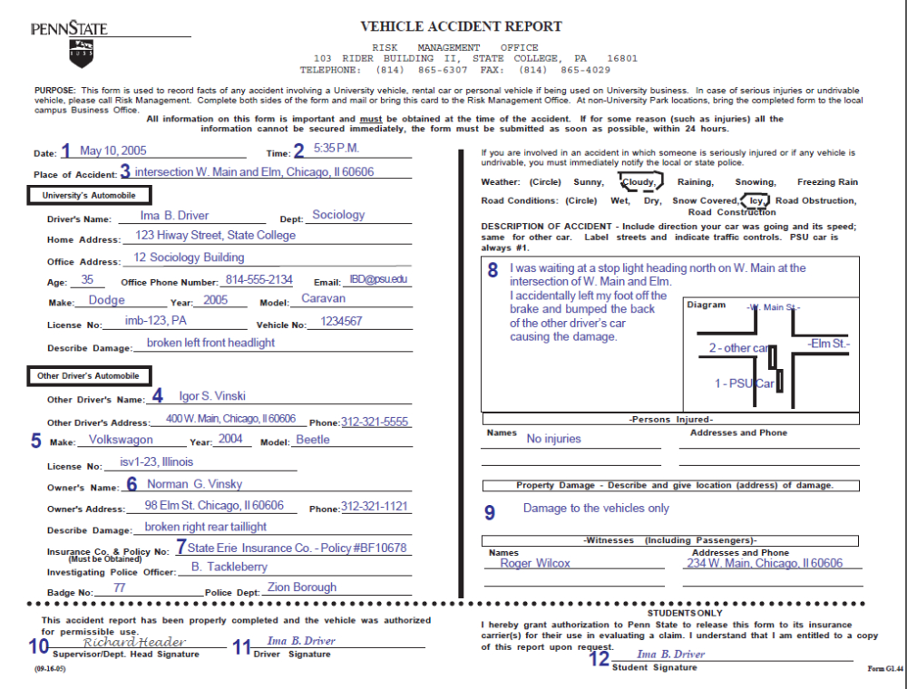 Vehicle Accident Report Form Instructions Throughout