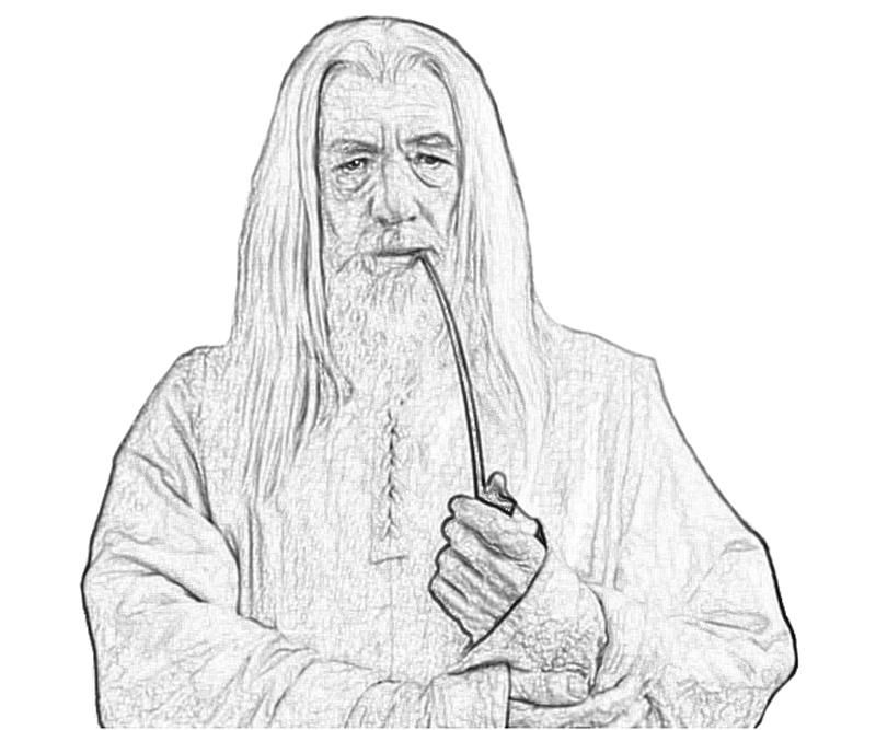 lord of the rings gandalf profil coloring pages middle earth free