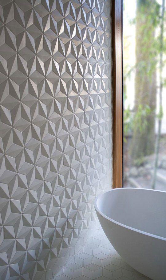 Badezimmer fliesen mit geometrischer struktur 3d tapeten for Tapeten badezimmer beispiele