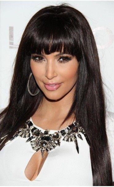 Kim Kardashian Silky Straight Custom Full Lace Human Hair Wig with Bangs -  Full Lace Wigs - EvaWigs d3e6a969319b