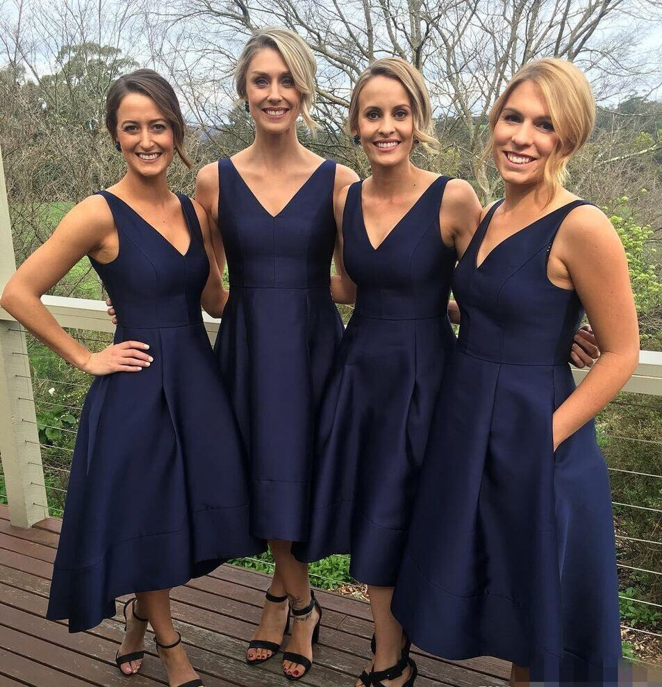 Simple Navy Blue V Neck High Low Bridesmaid Dress A Line Party With Pocklets