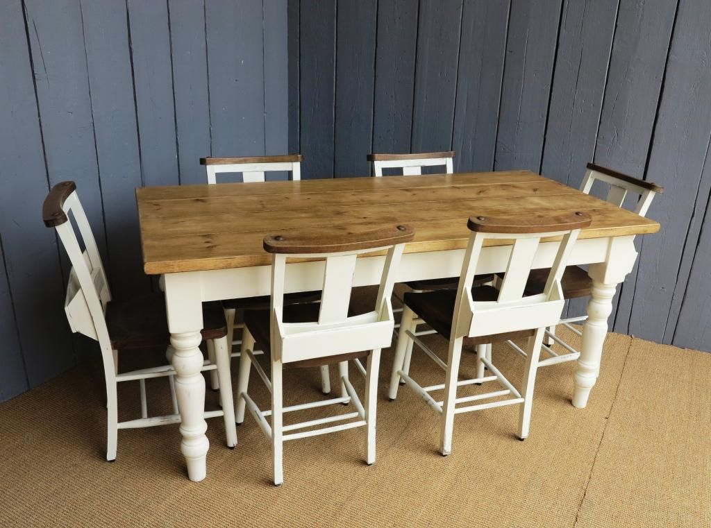 Farrow and ball lime white paint reclaimed pine farmhouse for Kitchen table and chairs set for sale