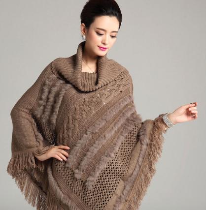 Winter Women Turtleneck Sweater Pullovers Tassels Knitting Poncho ...