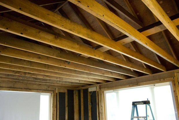 Exposed Ceiling Joists To Attic E