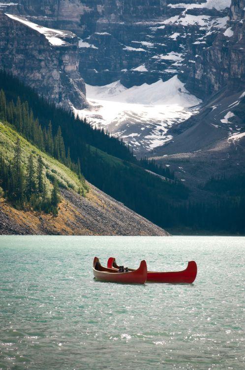 exploring Glacier in a canoe