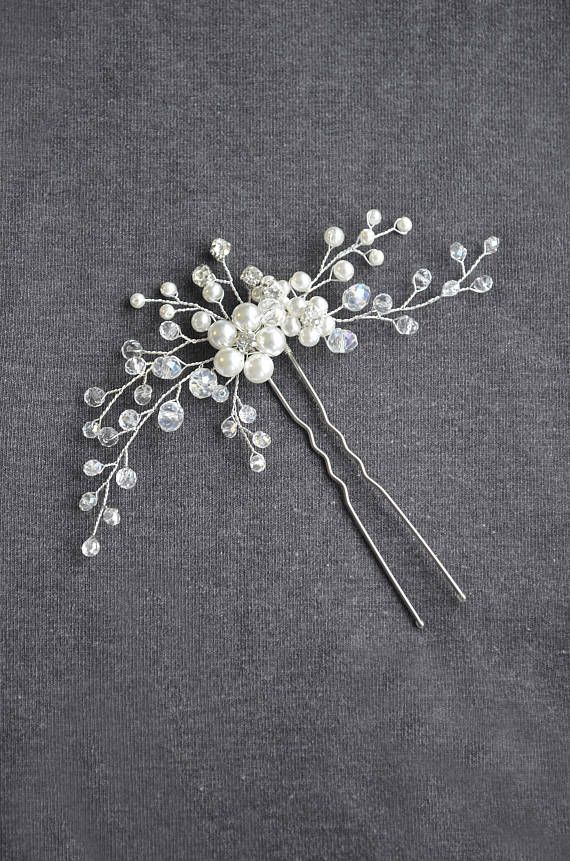 Pearl Silver Bridal hair pin Wedding Crystal Floral hair pins Bridal hair piece Flower headpiece Bridesmaid gift Hair accessories Jewelry